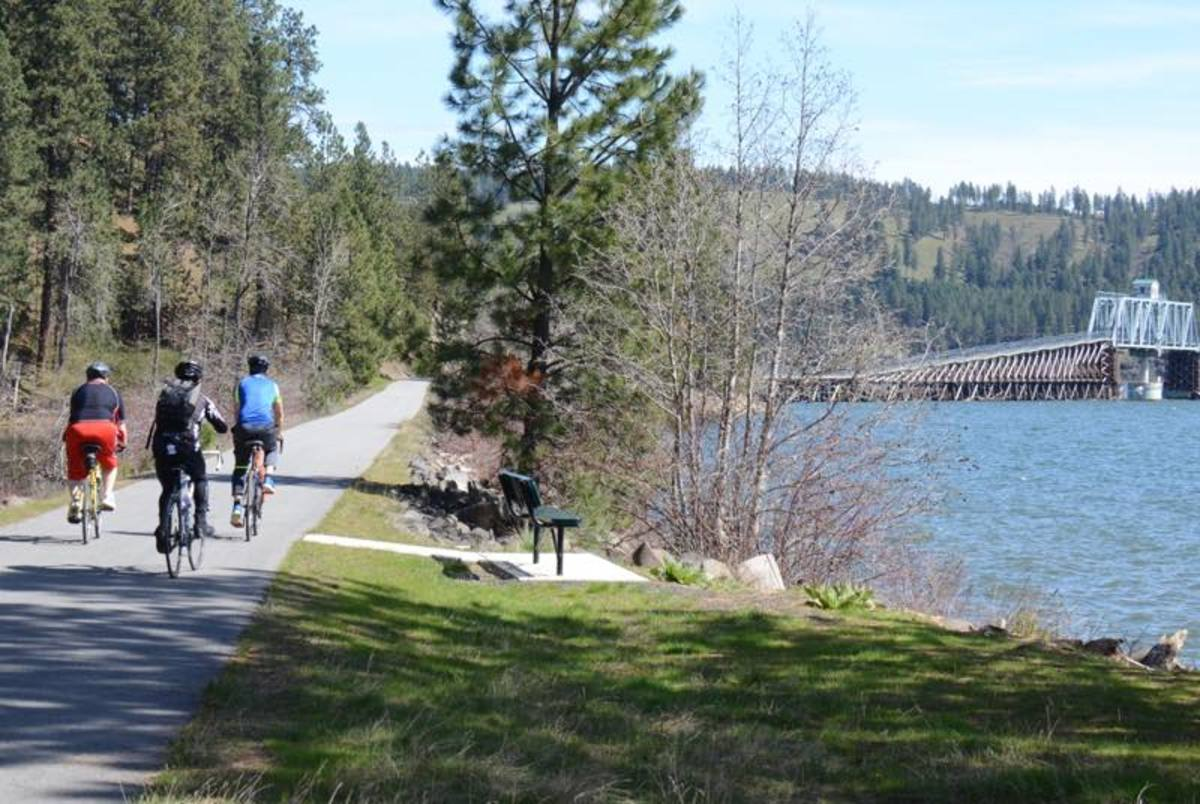 Trail of the Coeur d'Alenes, beginning near Coeur d'Alene tribal headquarters, a biking and walking trail running for 73.2 miles, the first 14.5 miles within the reservation and managed by the tribe.