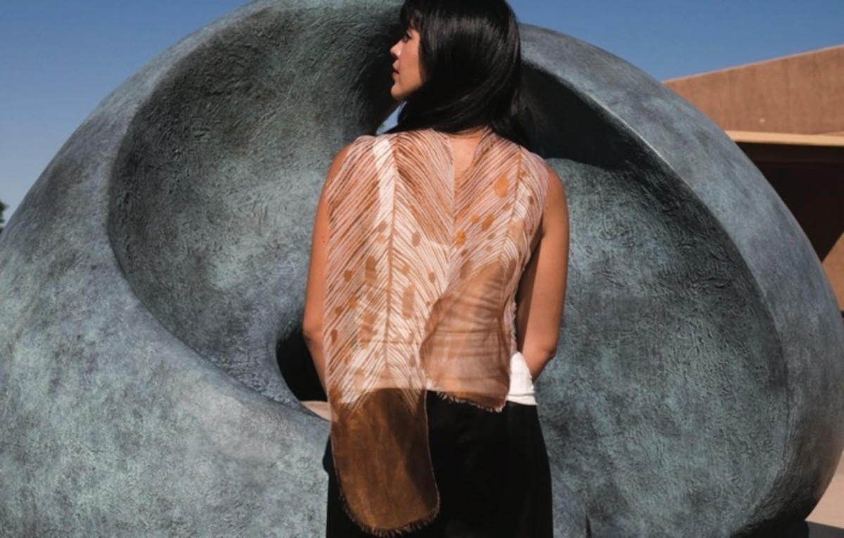 Patricia Michaels Silk Eagle Feather Scarf.