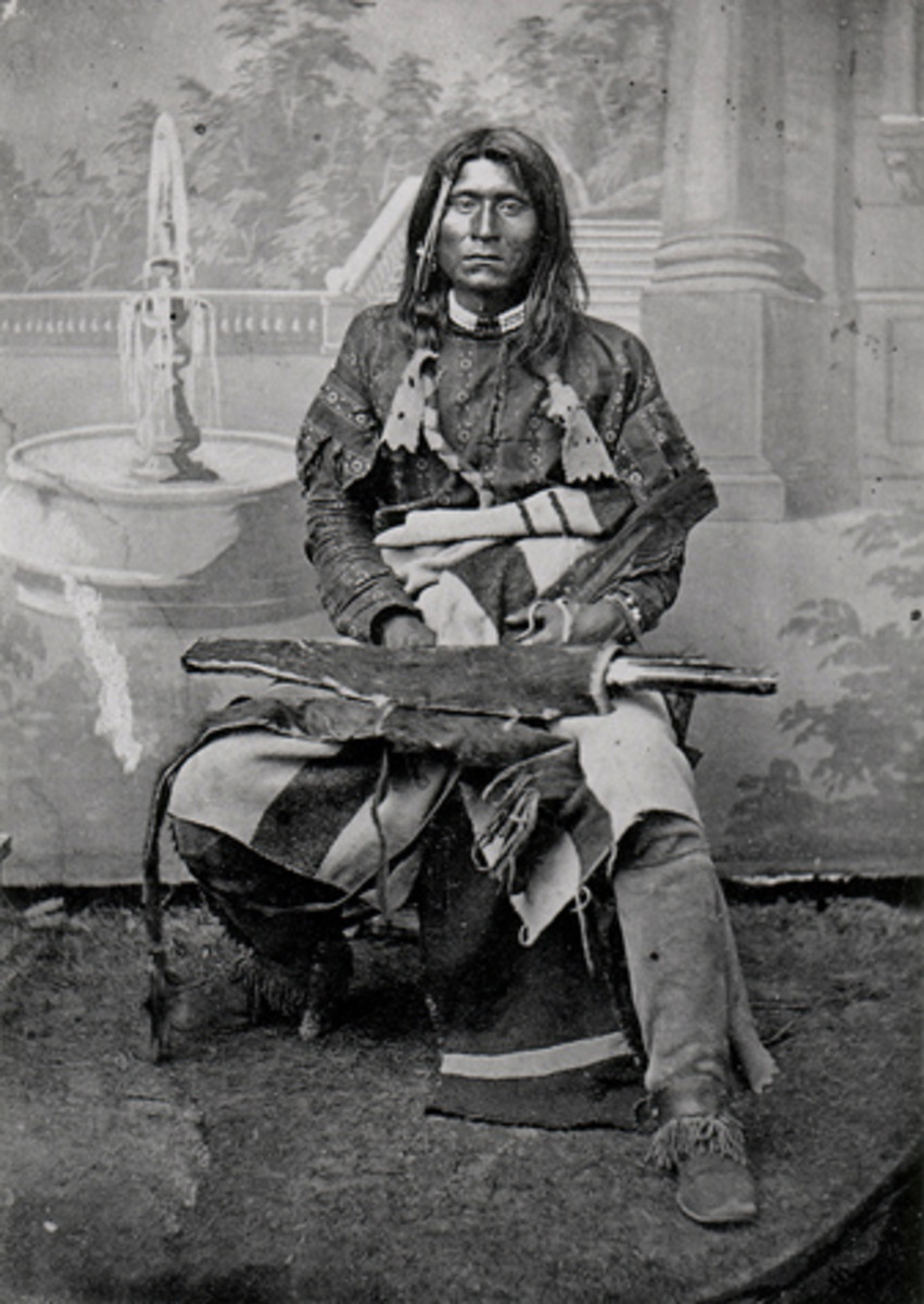 Captain Jack (seen here) or Kientpoos and Scarface Charley led the Modocs who defeated Captain Evan Thomas's patrol at Sand Butte. This image was taken in 1864. The original is in the collection of the Southwest Museum.