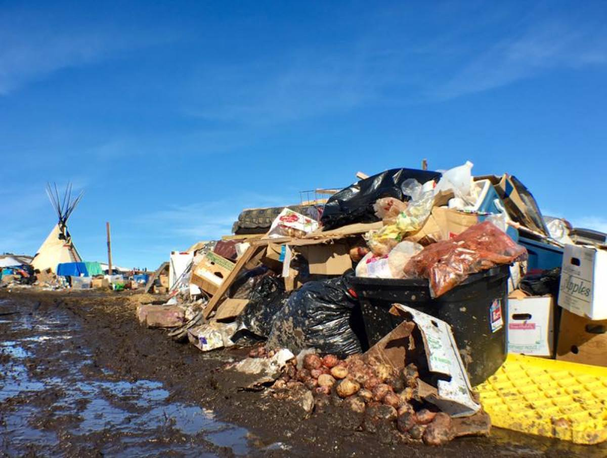 Garbage waiting to be disposed of in the Oceti Sakowin NoDAPL water protectors camp.